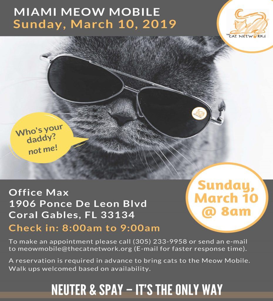 The Meow Mobile Low Cost Spay/Neuter is Coming to Coral Gables/Office Max